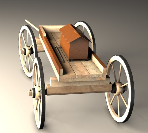 Beck side - The reconstructed wagon with the digitally restored urn and sceptre on it (image: Visual Dimension)