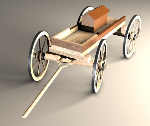 Front side - The reconstructed wagon with the digitally restored urn and sceptre on it  (image: Visual Dimension)